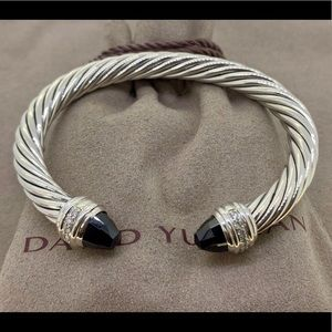 David Yurman 7mm Bracelet Garnet & Diamonds